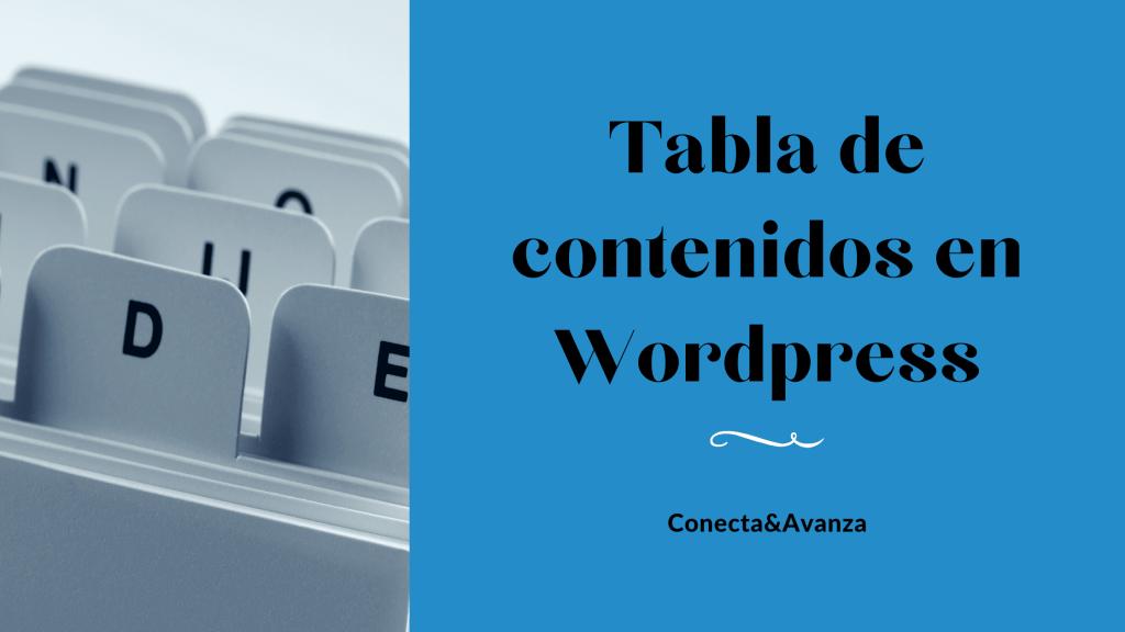 tabla de contenidos - conecta y avanza