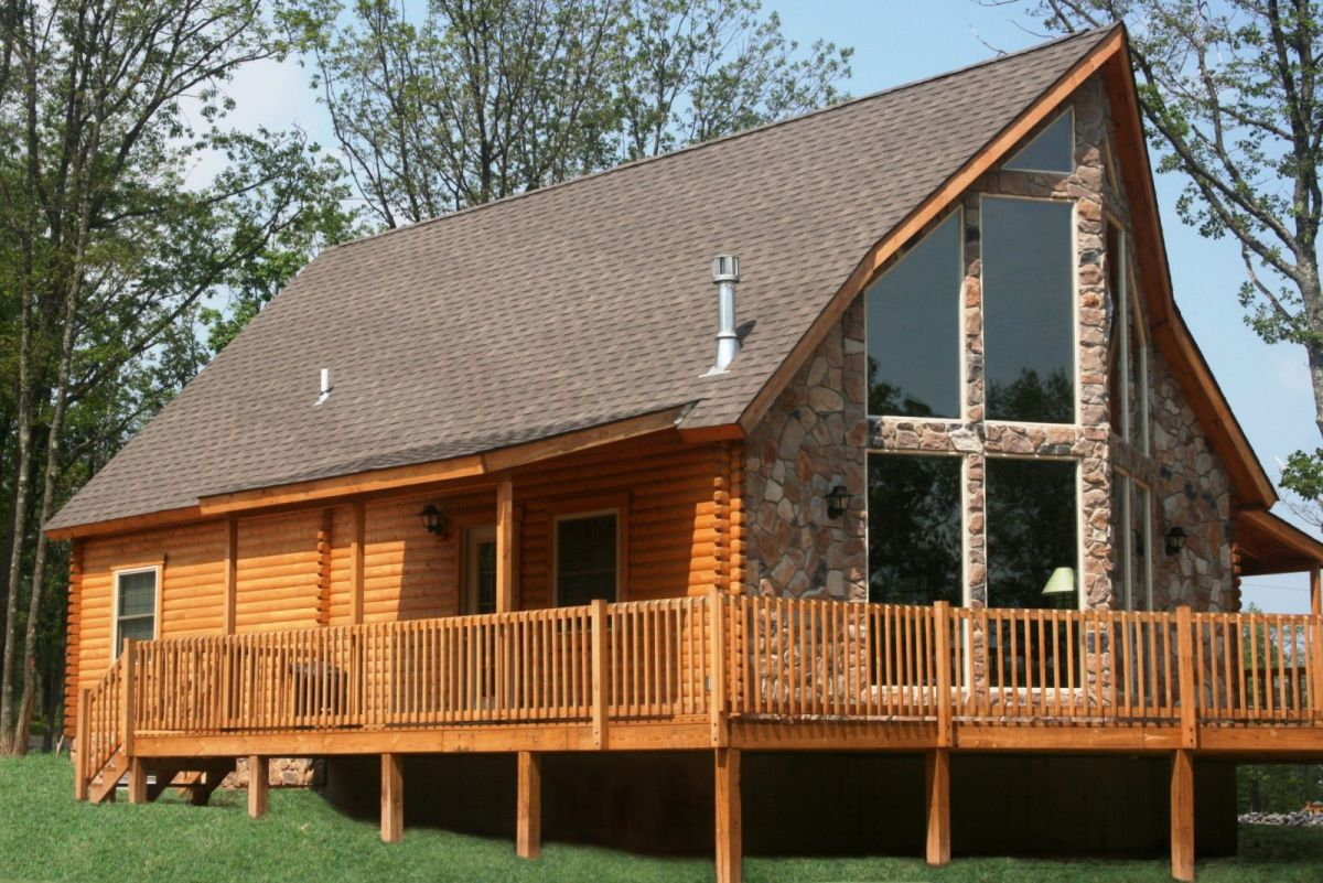 log home with stone veneer front