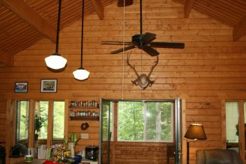 log home rustic great room decor