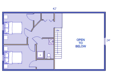 Sequoia log home 2nd floor blueprint
