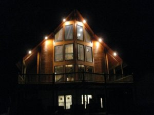 log cabin home security - Cabin Lights at Night