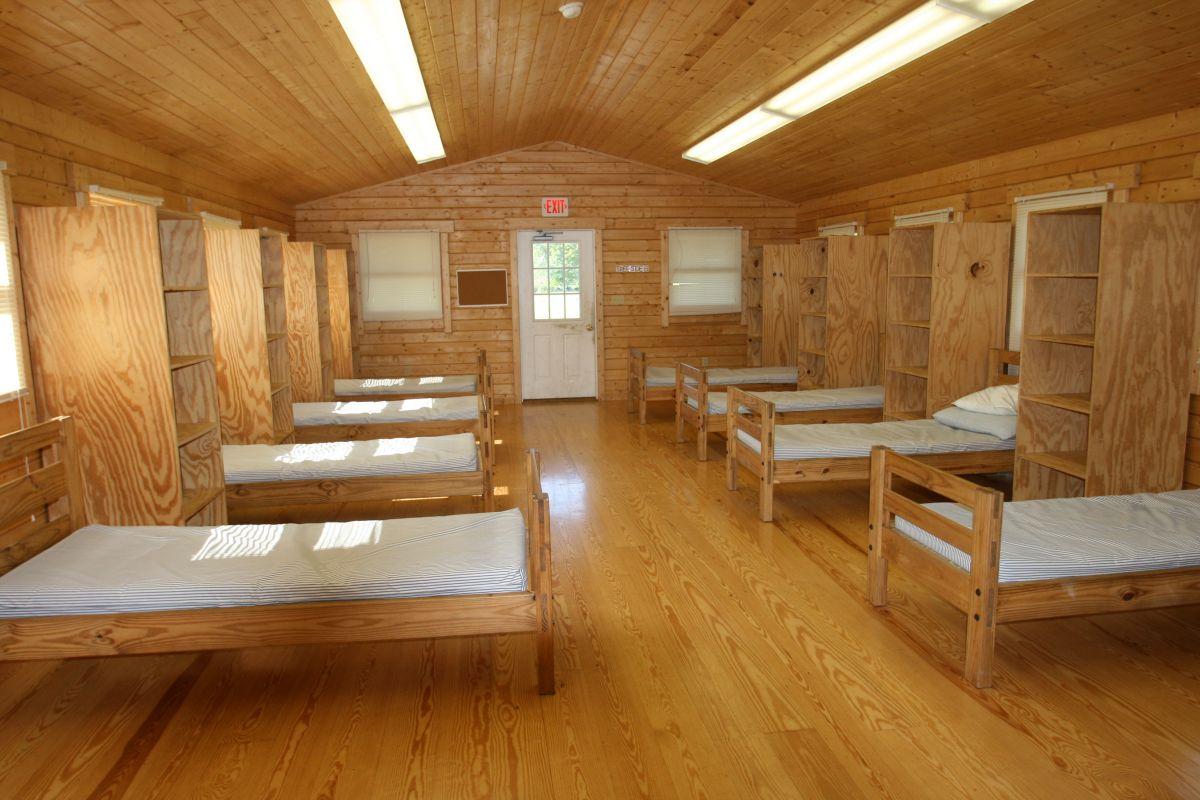 log cabin bunkhouse interior