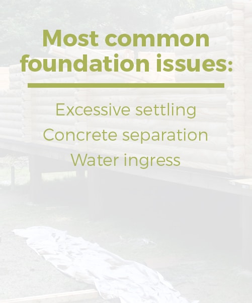 log cabin foundation common issues are excessive settling, concrete separation, and water ingress