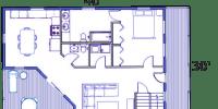 log home kits floor plan - hampton