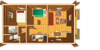 log cabin kits floor plan - vacationer