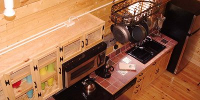 camping cabin kitchen