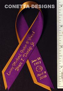 Awareness Ribbon Personalized Memorial Remembrance Ribbon Charity Ribbons Samples Continuous
