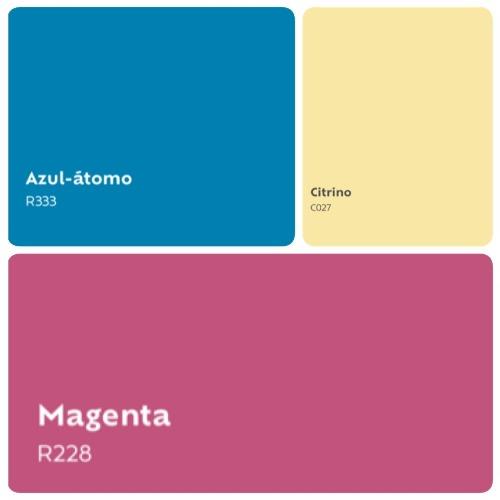 Combinação de 3 cores que serão tendencia em 2019. Um azul mais claro, uma amarelo clarinho e magenta.