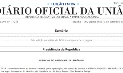 Augusto Aras já está no Diário Oficial 25