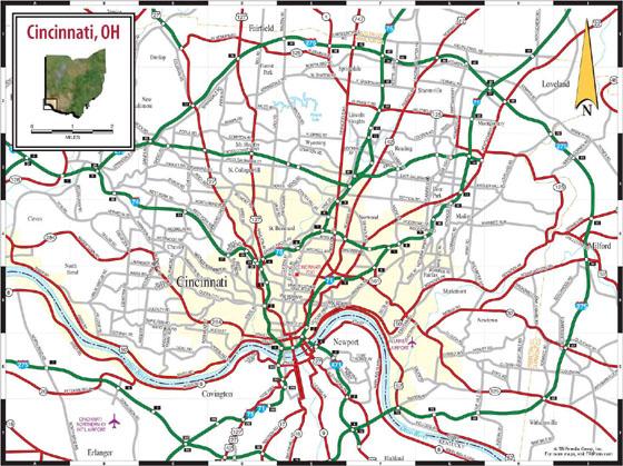 Cincinnati, OH Map