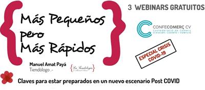 """Programa webinars Confecomerç CV """"MÁS PEQUEÑOS pero MÁS RÁPIDOS"""" (Grabaciones)"""
