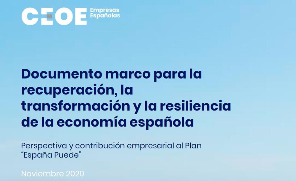 """Perspectiva y contribución empresarial al Plan """"España Puede"""" CEOE 2020"""