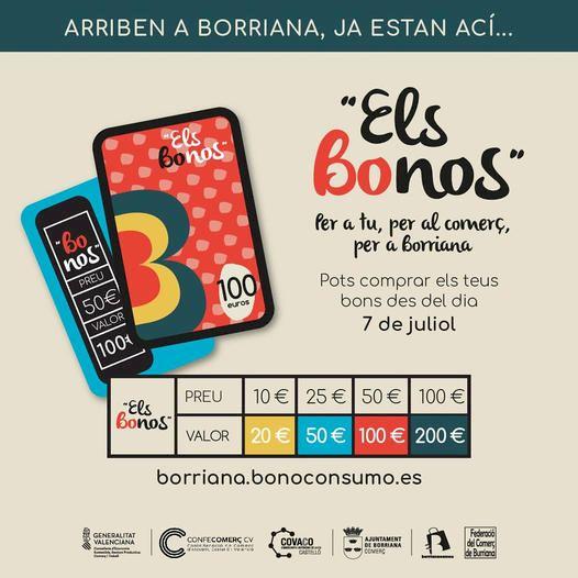 Agotados los bonos comercio en apenas tres días de la campaña del ayuntamiento que cuenta con el apoyo de la Federació de Comerç de Burriana y de Confecomerç