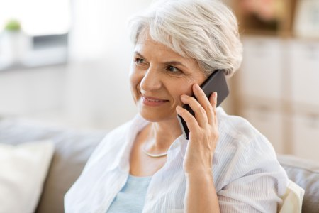 Older Woman on Phone for Medicare