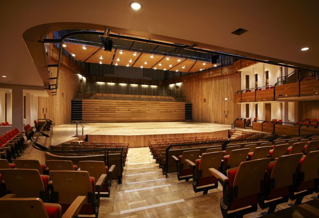 View of the stage, The Elgar concert hall