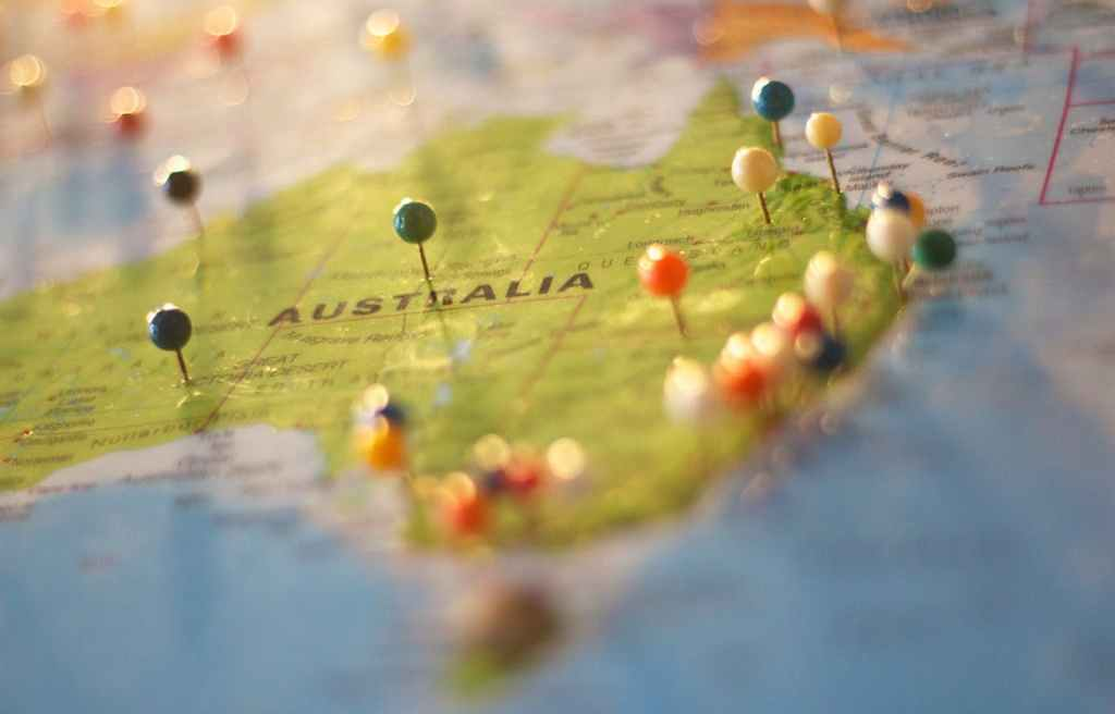 Pins in a map of Australia