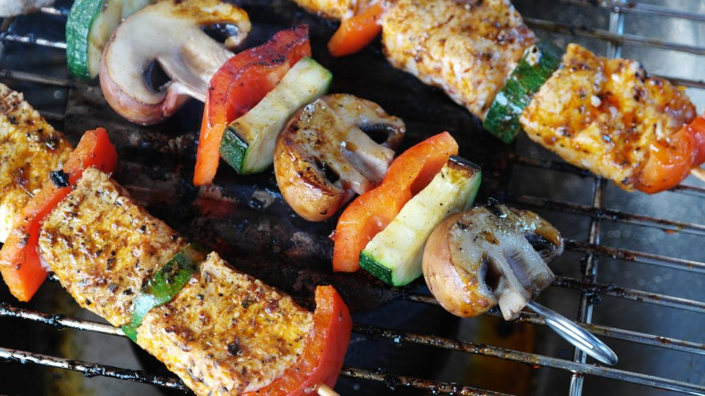 Skewers on a grill