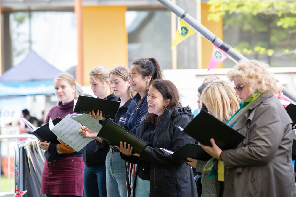 Volunteer choristers from all over the city