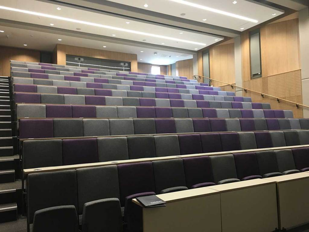 Empty lecture theatre in the Alan Walters Building