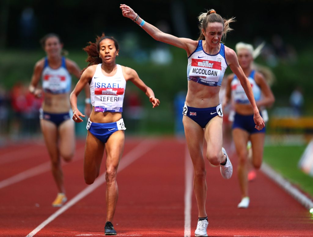Athletes running on track in the Women's A race at Muller British Athletics 10,000m Championship & European Athletics 10,000m Cup 2021