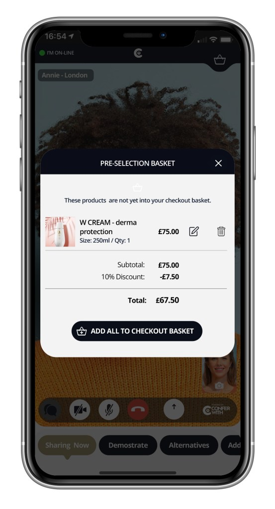image showing a virtual shared basket super imposed on a mobile phone
