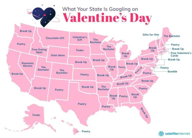 map of United States.  Each state says what your state is googling on valentine's day