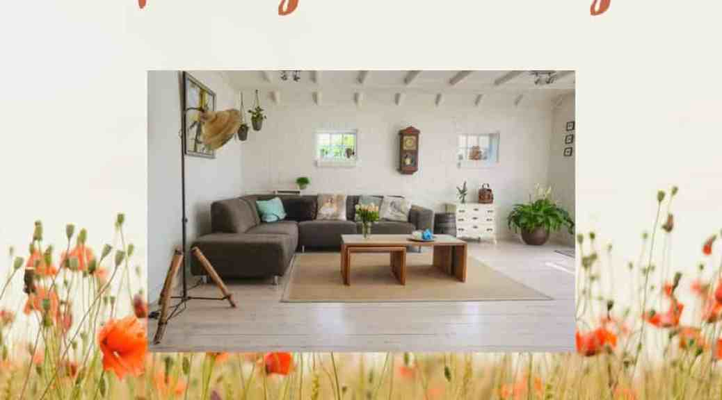 spring cleaning checklist living room scene