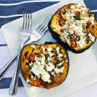 Stuffed Acorn Squash with Sausage, Spinach, and Feta
