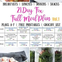 21 Day Fix Meal Plan Vol. 1 {All Meals | All Brackets | Free Printables}
