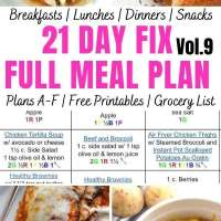 21 Day Fix Meal Plan Vol. 9 {All Meals | All Brackets | Free Printables}