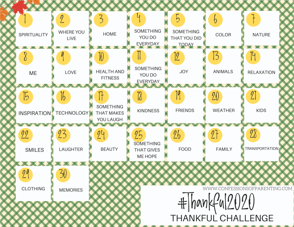 This 30 day thankful challenge is a great way for you and your kids to appreciate everything you have! Grab your free 2020 thankful challenge calendar here.