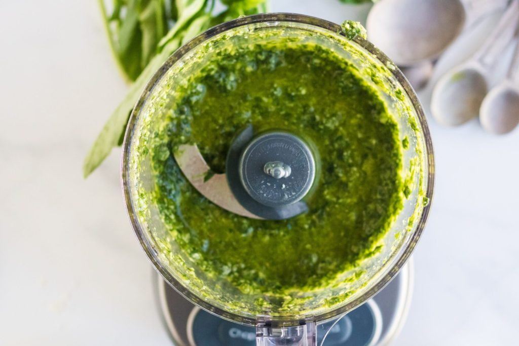 This pesto without pine nut recipe is so simple to make and tastes delicious as it uses fresh ingredients to give you the pesto taste you love without the nuts.