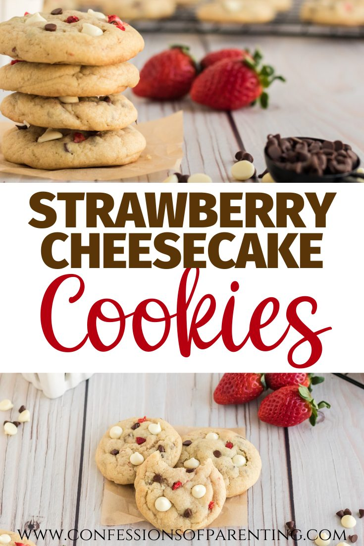 strawberry cheesecake cookies with fresh strawberries and chocolate chips in background