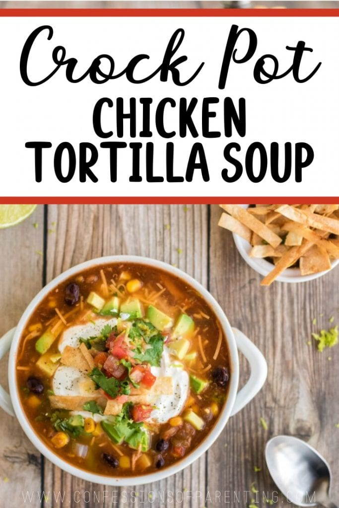 pinnable Pinterest image of crockpot chicken tortilla soup