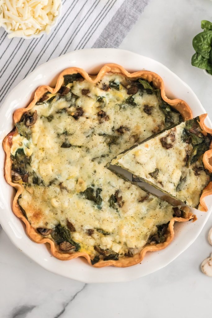 Quiche Florentine in white pie dish
