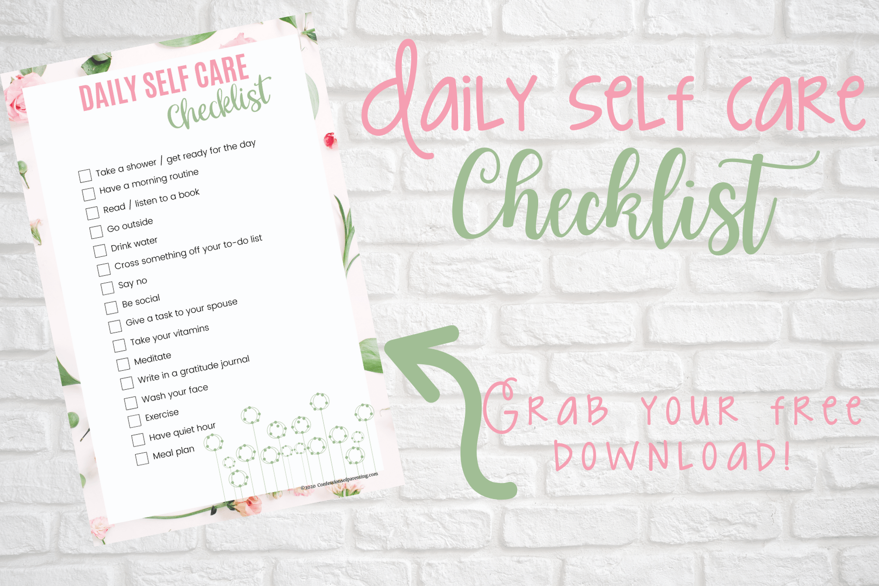 The Best Daily Self Care Checklist For Moms