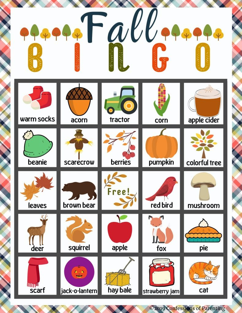 Free printable fall picture bingo cards