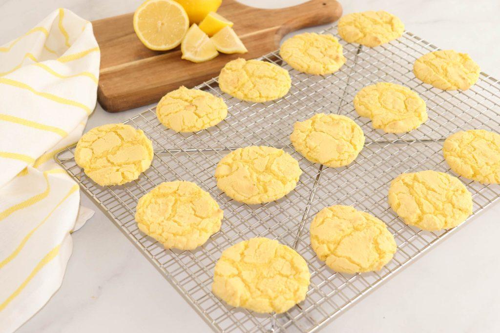 lemon cake mix cookies on cooling rack