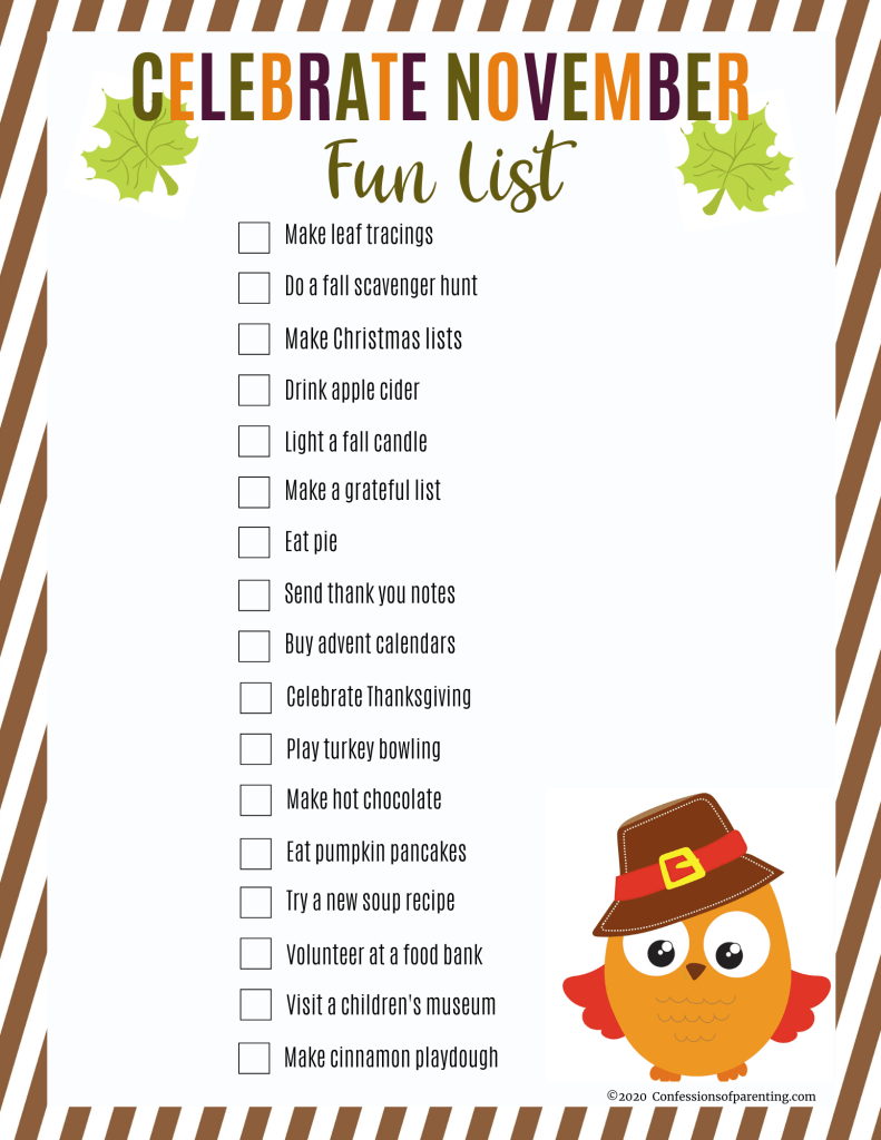 Your family will have so much fun with these simple ways to celebrate November. Check out our November bucket list for families with an included printable!