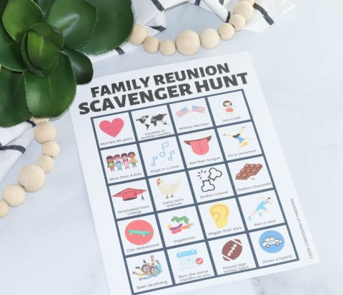 This fun free Family reunion scavenger hunt printable is just what you need at your next family reunion! It helps everyone connect and have fun with each other.