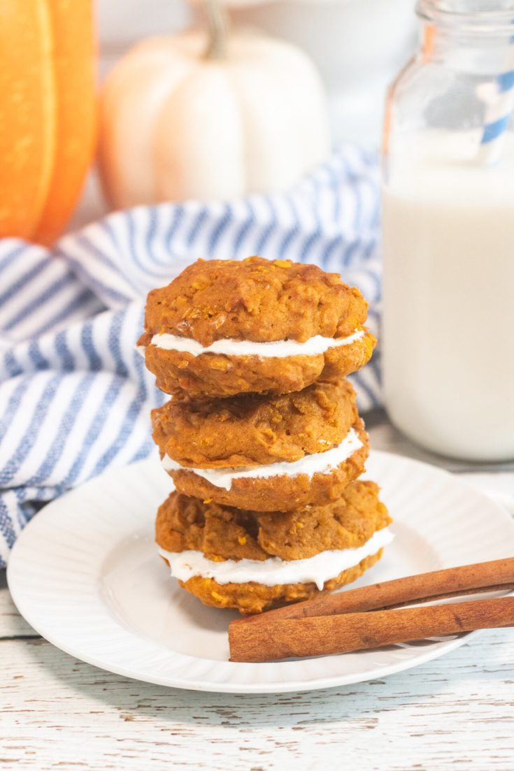 3 whoopie pies with a glass of milk