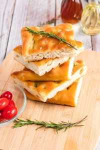 pieces of focaccia bread stacked on top of each other