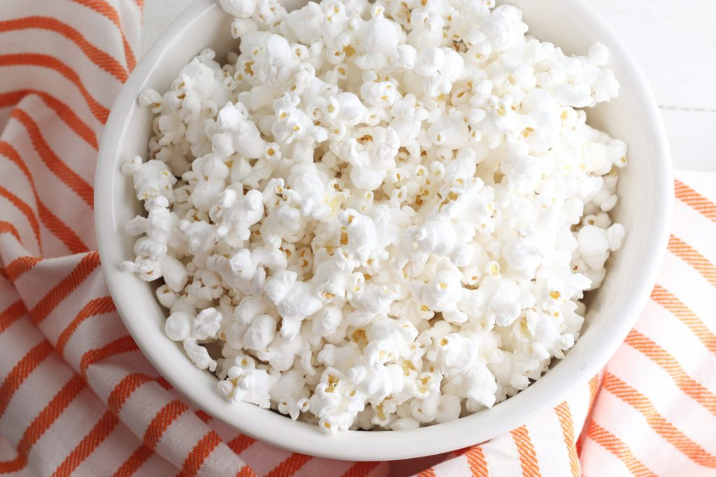 bowl of popcorn for DIY popcorn balls