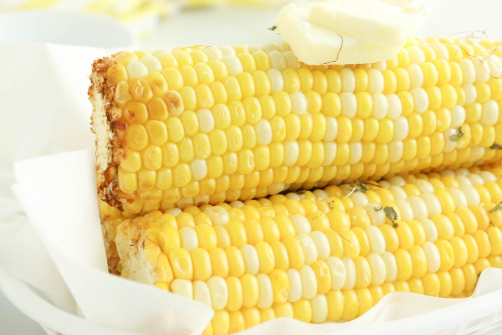 Close up of corn on the cob in air fryer