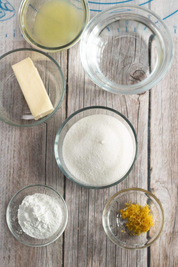 ingredient shot of apple dumplings in glass bowls
