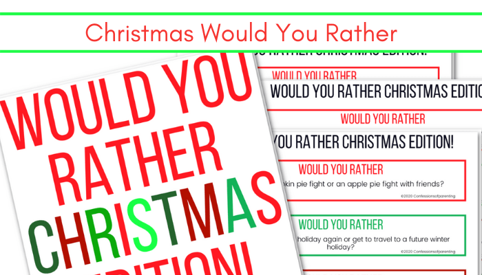 Red and Green Would You Rather Christmas printable