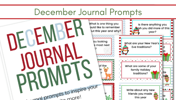 December Writing Prompts cards printable