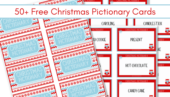 Red and blue Christmas Pictionary cards printable