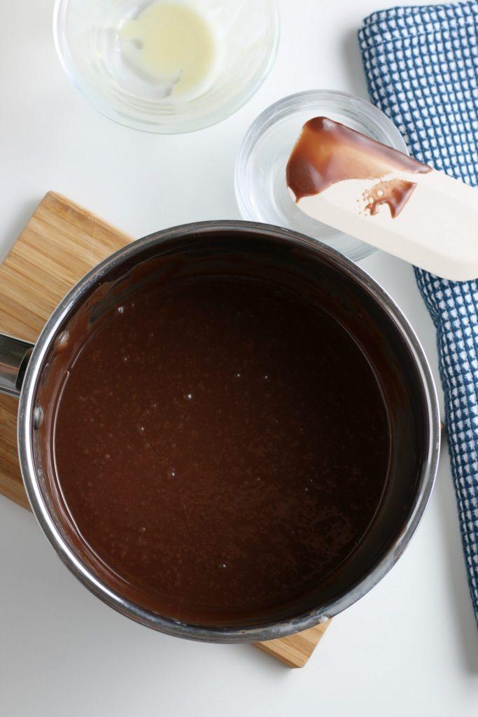 process shot of chocolate sauce