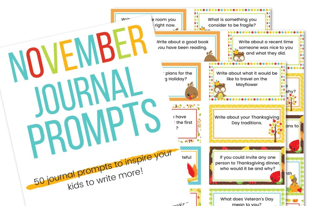 November journal prompts printable cards